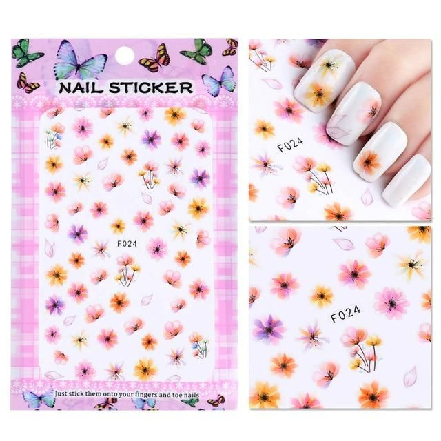 1 Sheet Embossed 3D Nail Stickers Blooming Flower 3D Nail Art Stickers Decals Ad…
