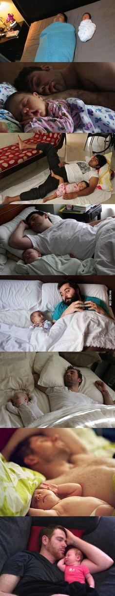 Babies and their daddies in bed. It's my favorite thing!