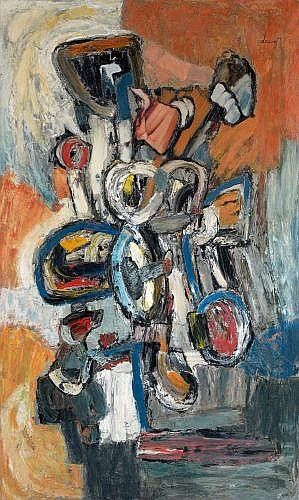 "Description: Jacques DOUCET (1924 - 1994)  SANS TITRE, 1957  Oil on canvas  signed upper right ""Doucet"", countersigned, dated et inscribed on the revers on the stretcher ""Doucet, CLXI 57, Gal Ariel, Coll J.P""  161 x 96 cm"