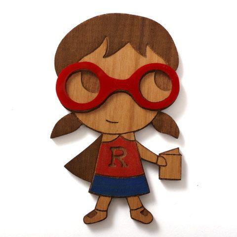 Reading Girl hero from jamfancy: Book Loving Friend, Girls, Hero Brooch, Bookstore, Cut Brooch, White Brooches, Reading Superhero