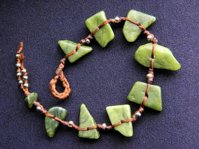 new zealand greenstone beads on waxed cotton bracelet