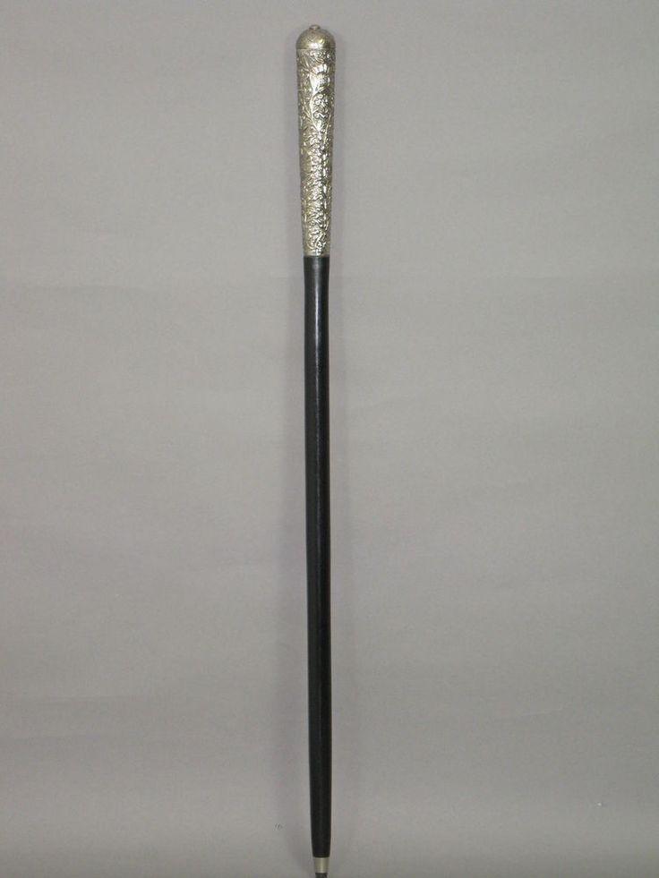 Vintage Gehstock Wanderstock Spazierstock LARP Stock silbern schwarz 92 cm