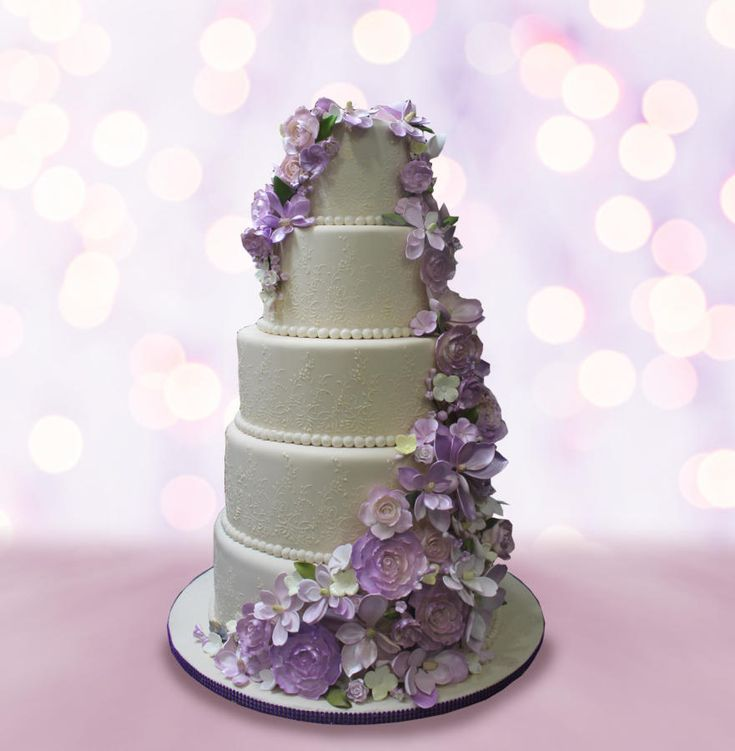 Purple Floral Accent by MsTreatz - http://cakesdecor.com/cakes/298085-purple-floral-accent
