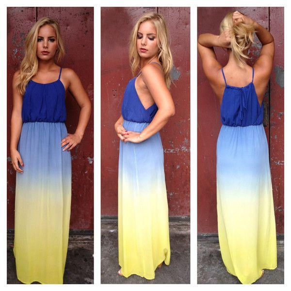 Blue & Yellow Ombre Maxi Dress