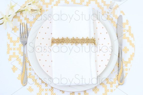 White Gold Menu Place Setting Mock up Styled Stock / Make your Blog, Website & Social Media beautiful by SassabyStudios