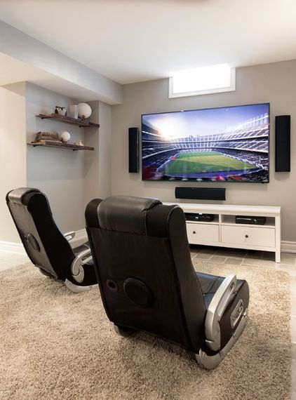 Contemporary basement gaming room!