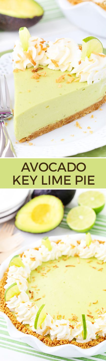 Avocado Key Lime Pie - the smoothest and creamiest key lime pie! SO good and easy - no bake!