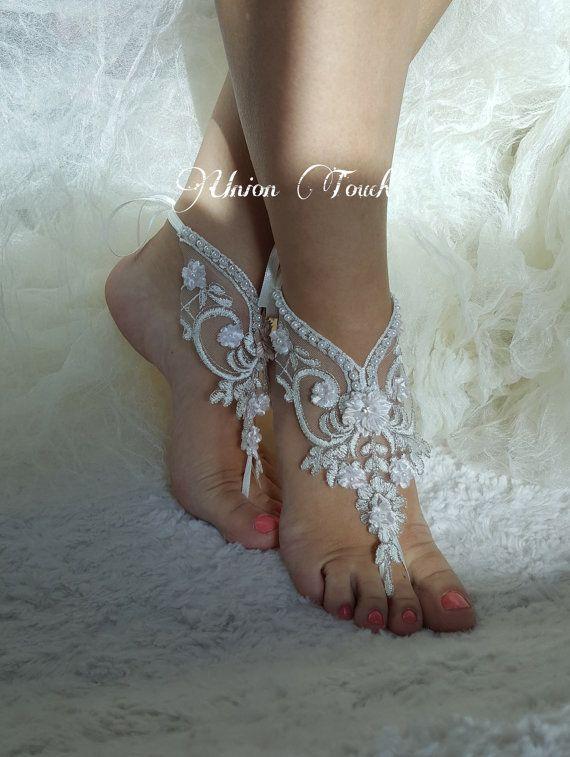 lace barefoot sandals beach wedding barefoot sandals beach barefoot lace barefoot pearly lace anklet silver frame lace anklet lace sandals