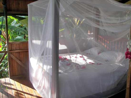 A large queen size bed in a open air style cabina nestled in the Costa Riac rainforest jungle