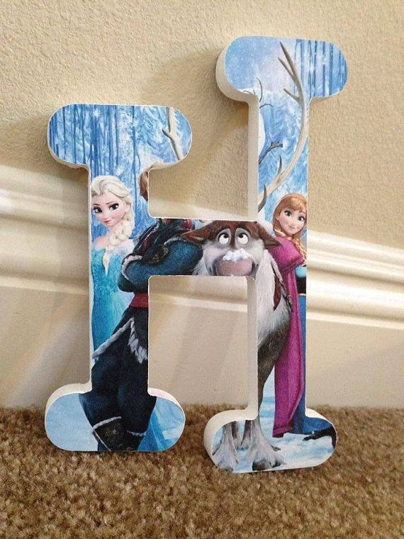 Personzlied Custom Nursery Hanging Wall Letters for Babies and Kids Rooms - FROZEN Theme With Princesses Elsa and Anna on Etsy, $10.00