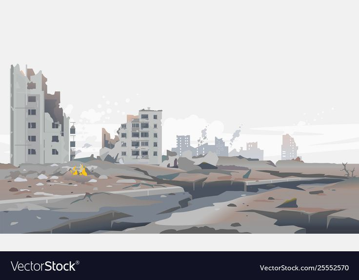 Destroyed City Concept Landscape Background Illustration Building Between The Ruins And Concre City Background Vector Illustration People Landscape Background