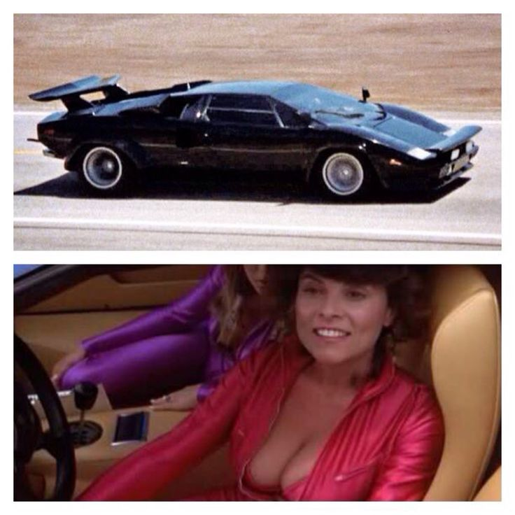 "My favorite movie/TV cars of all time: The Black Lamborghini Countach driven by Adrienne Barbeau in 1981's ""The Cannonball Run"". Loved the way she used her ""assets"" to get out of speeding tickets."