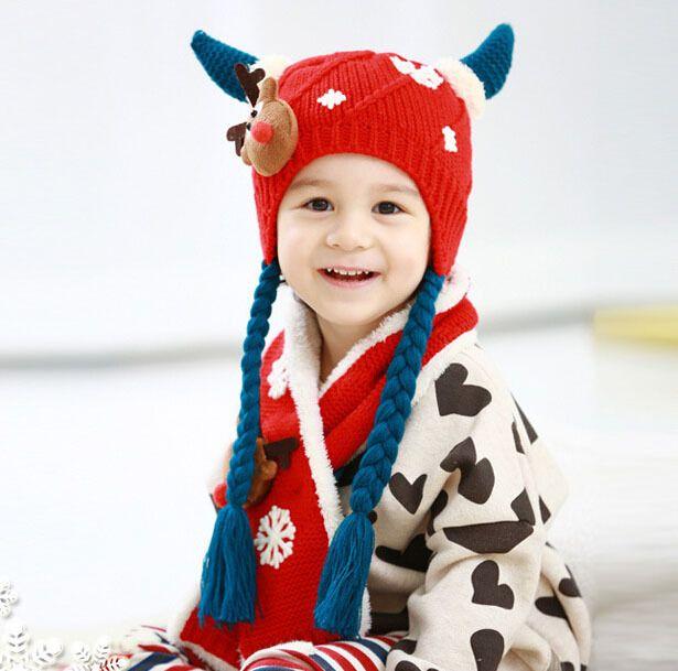 Комикс олень стиль мальчики вязаные шапки зима 2 шт. девочка шарф шляпа мех комплект возраст для 8 months-3 лет