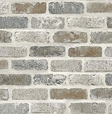 Washed Faux Brick Wallpaper Peel Stick Gw1003 White Gray Brown Amazon Com