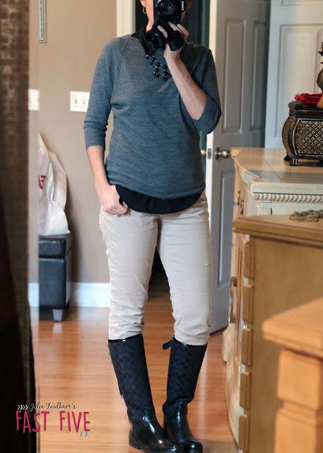 Fall Teacher Outfits, Casual Friday, Jeans Day Ideas   Khaki Corduroys   Coach Rain Boots
