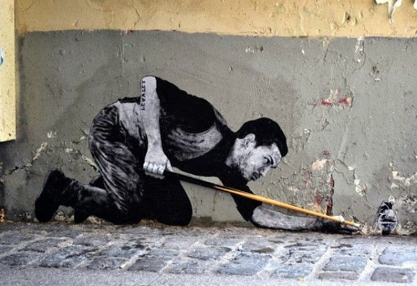 Street art by french artist Levalet (Charles Leval) in Paris (5th) Demineur  - The Minesweeper (1)