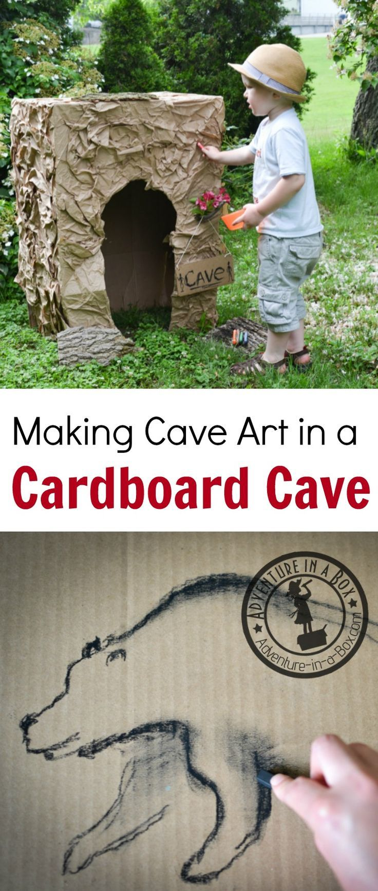 Build a cardboard cave and make cave art. A fun activity for studying history with kids!