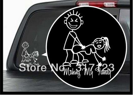 Free shipping (100 pieces /lot) Wholesale Making my family Vinyl Decal / Window Sticker Stick Figure Sexy Bad Car Decal $76.00