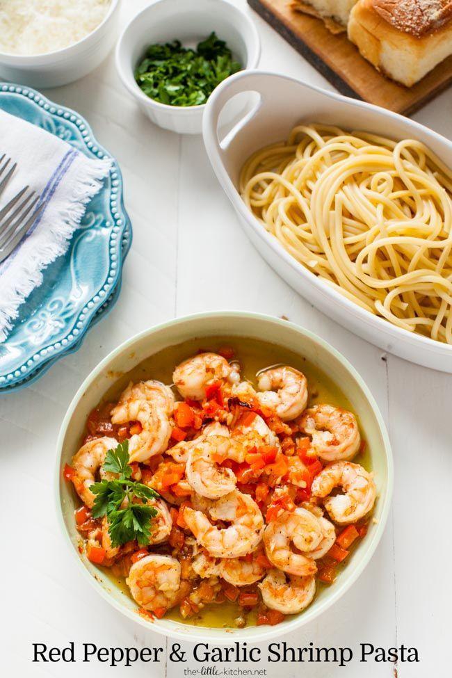 Red Pepper and Garlic Shrimp Pasta from http://thelittlekitchen.net /eatshrimp/