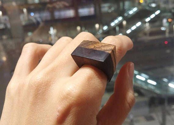 Chansthinks flat wooden ring/layered/redheart/bocote/ebony
