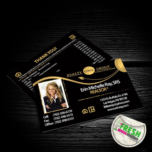 Business Cards Designed And Printed For Erin Ray Of Realty One Group