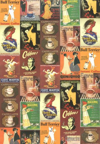 Caffe - Vintage Coffee Advertisement Poster Collage Prints at AllPosters.com