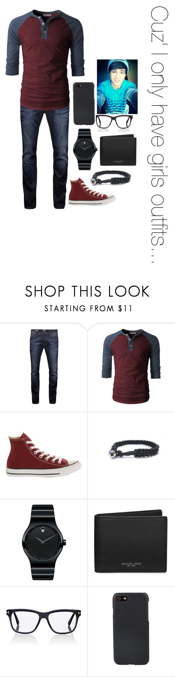 """""""Cuz' I only have girls outfits..."""" by summerdawn509 ❤ liked on Polyvore featuring Jack & Jones, Converse, xO Design, Movado, Michael Kors, Tom Ford, Shinola, men's fashion and menswear"""