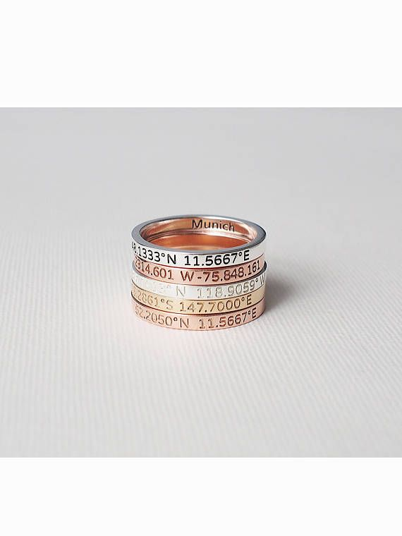 Coordinates Ring / Personalized Latitude Longitude Ring /