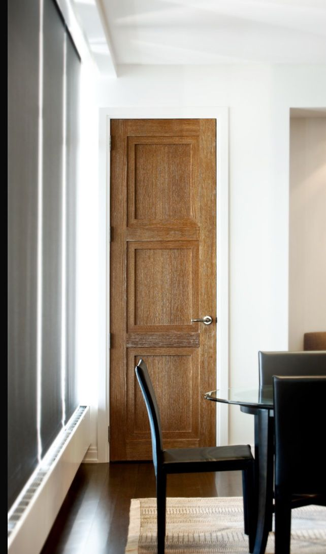 Wood interior doors with white trim                                                                                                                                                                                 More