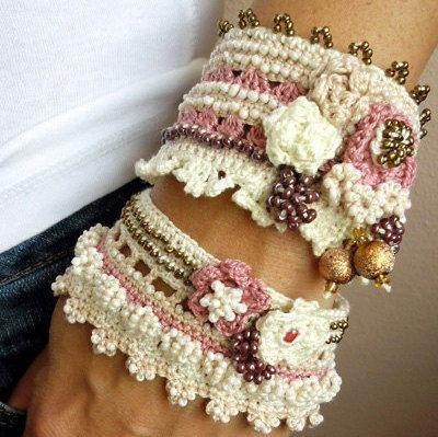 Crochet Bracelet Cuff Beige Cream Rose Light by SvetlanaCrochet