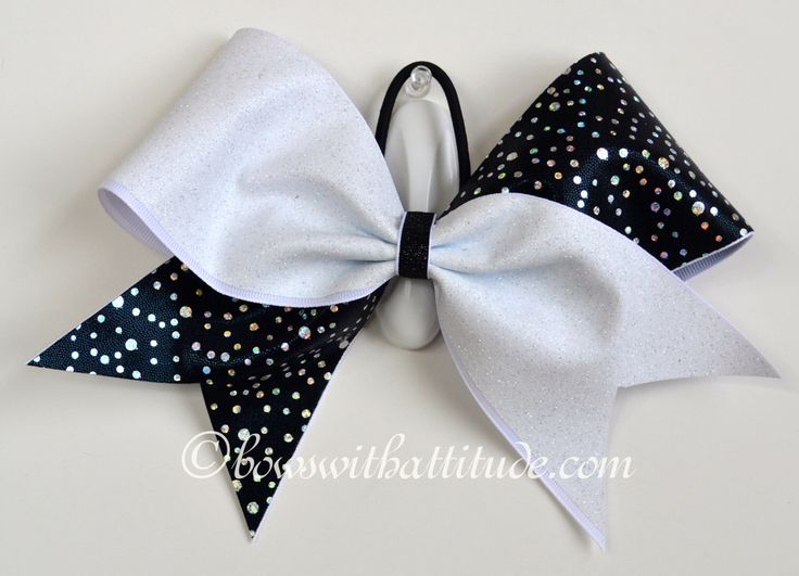 """3"""" Wide Luxury Cheer Bow - White Glitter and Black Tick Tock by BowsWithAttitude on Etsy https://www.etsy.com/listing/240791298/3-wide-luxury-cheer-bow-white-glitter"""