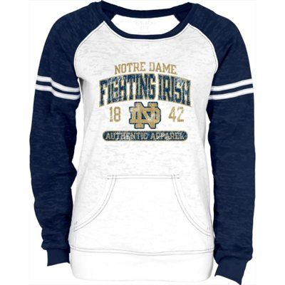 Notre Dame Fighting Irish Women's Victory Burnout Fleece Raglan Jersey Crewneck Sweatshirt