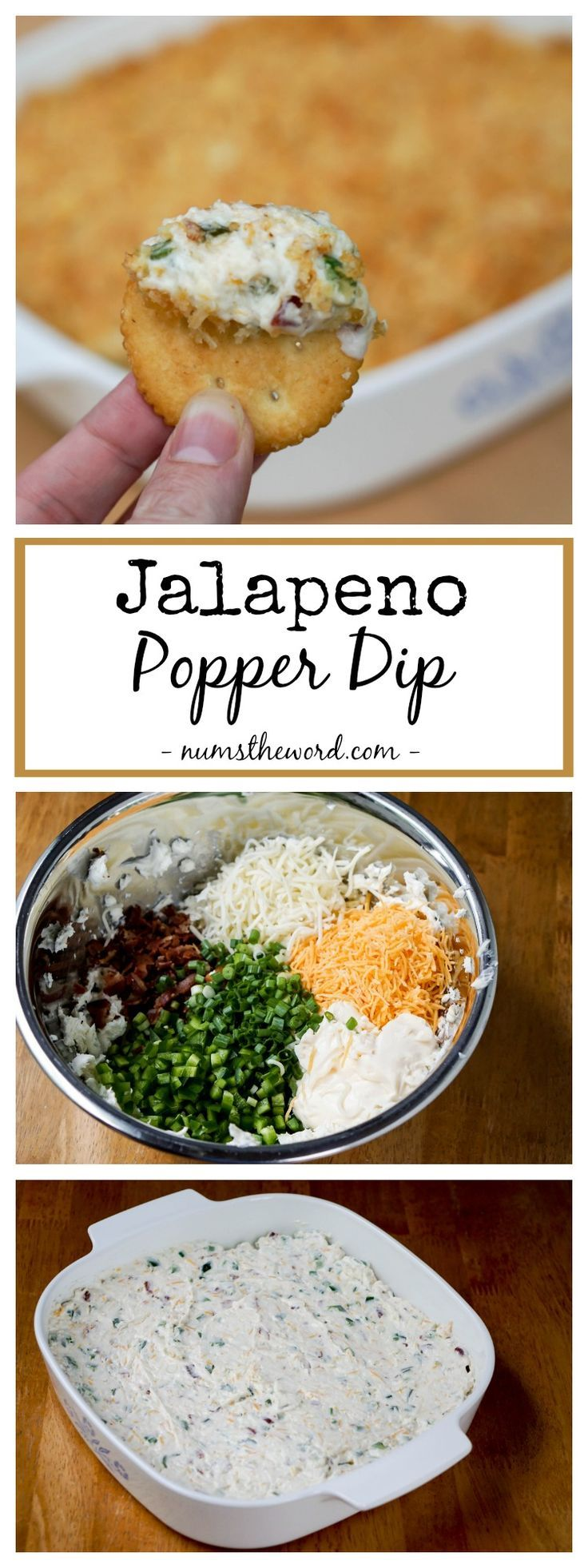 Jalapeno Popper Dip – This hot, but not spicy, dip make a great party dip.   Perfect appetizer for bridal showers, baby showers, football games, tailgating and game night.  An easy appetizer anyone can make! (Potluck Recipes Easy)