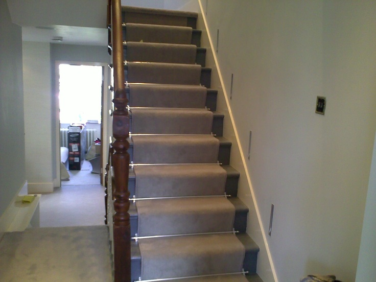 Lighting Basement Washroom Stairs: Grey Carpet, Chrome Stair Rods, Inset Wall Lights