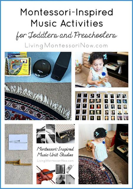 Lots of Montessori-inspired music activities and resources for toddlers and preschoolers in the classroom or at home; part of the 12 Months of Montessori Learning Series!