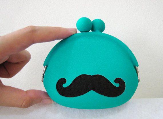 Cute Mustache Teal Coin Pouch Coin Purse. Color Choice. Cute Gift