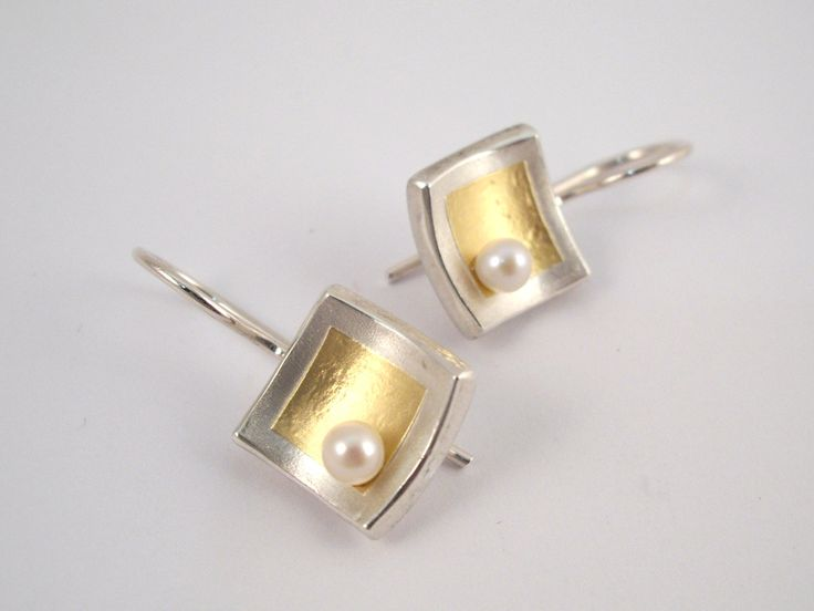Romantic gold and silver square earrings decorated with a pearl. by TomisCraft on Etsy