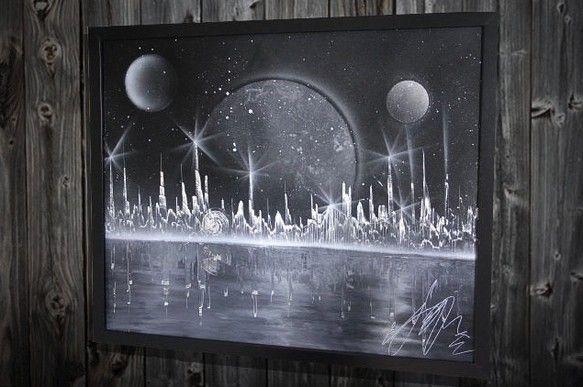 白と黒の世界サイズ 520mm×425mmブラックマットフレーム入り作品 ガラス原画スプレーアート作品白と黒だけで仕上げたクールなモノクロ作品。星...|ハンドメイド、手作り、手仕事品の通販・販売・購入ならCreema。