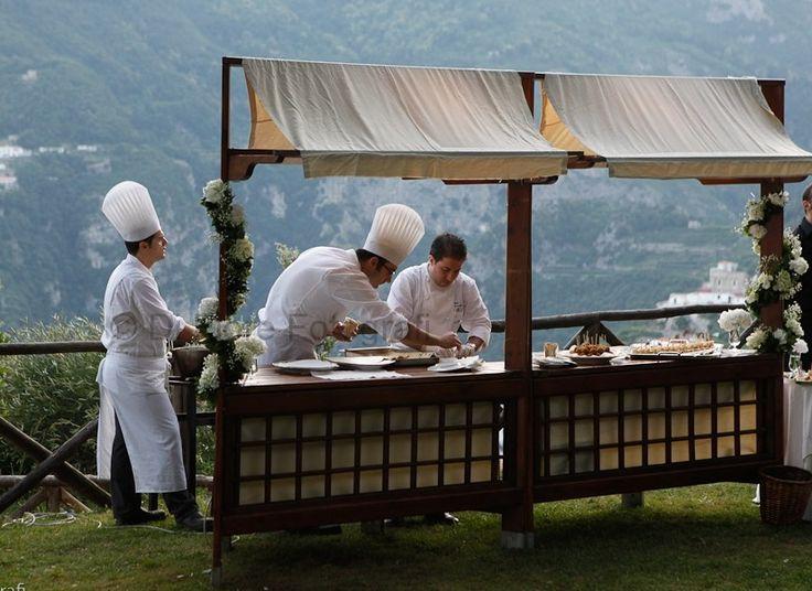 Tendenze nozze 2015. Ricevimento nuziale all'aperto. Show cooking.