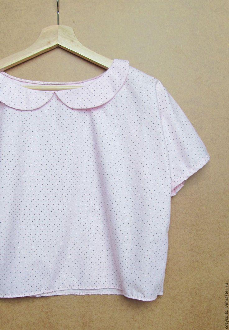 Купить Блуза с милым воротничком - бледно-розовый, горошек, блуза, хлопок, кофточка из хлопка, воротничок