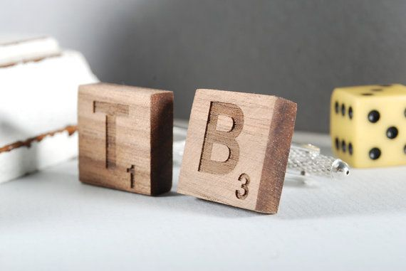 SCRABBLE cuflinks ready to give gift box solid by MoodForWood