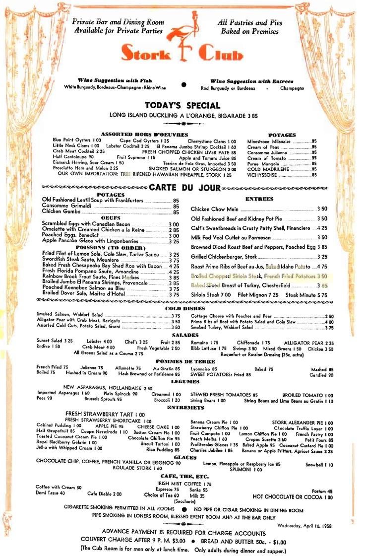 Bacall S Restaurant Menu