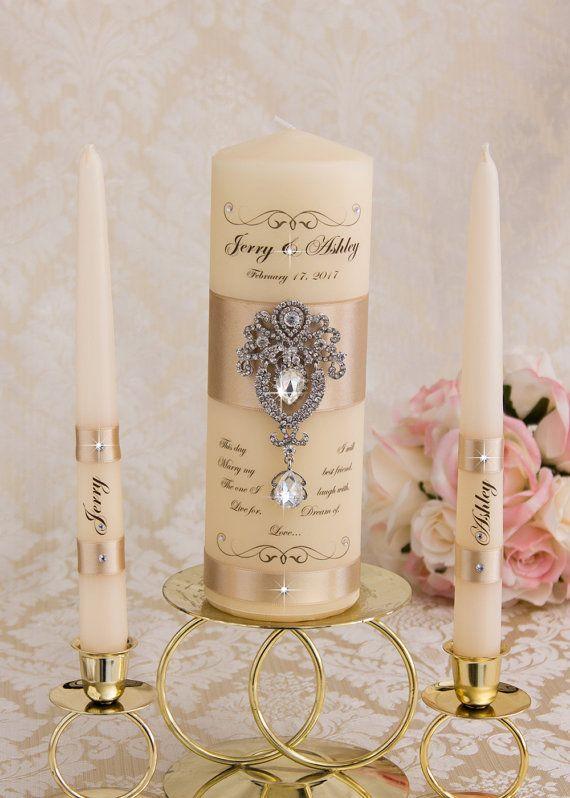 Kerzenset Einheit, Hochzeit Einheit Kerze Set personalisierte Zeremonie Crystal Einheit Kerzenset, Kristall Hochzeit Kerzenset Stumpenkerze