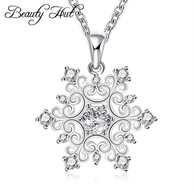 Belleza Choza N771 nueva Plata de calidad superior Plateó y Estampado de nieve suerte flor de piedra de cristal de las mujeres collar colgante de joyería de moda