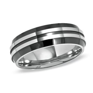 Zales Mens 10.0mm Chain Inlay Two-Tone Stainless Steel Ring (17 Characters) 7dX02F21Qp