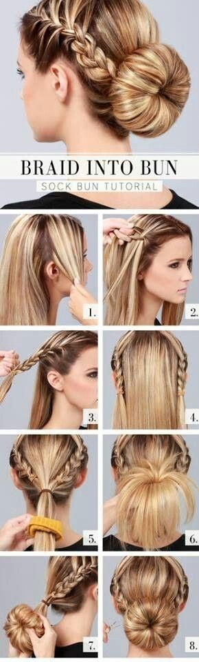 Braided Into Sock Bun   I love these hairdos that are easy yet look so fantastic. Great for school, the office, working around home, ect.