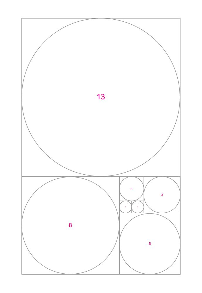 Fibonacci number - I would like to design a hosta garden based on this layout.  The pattern would only be apparent from the upstairs bedroom window.  The golden spiral would be completed using white hosta and each circle would be filled with one other contrasting specimen.  The smaller circles would be raised higher than the next graduation below it.