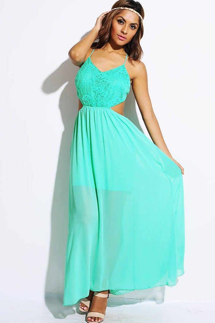 #1015store.com #fashion #style mint green lace cut out backless chiffon party maxi dress-$20.00