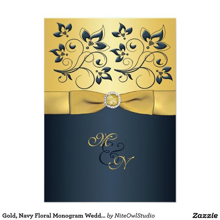 Gold Navy Floral Monogram Wedding Invitation 402