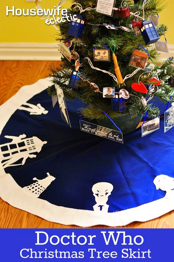 Housewife Eclectic: Doctor Who Alien Tree Skirt. This DIY Christmas Tree Skirt is perfect for the WHovian in your life.